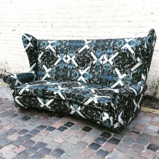 Sofa recovered in Anna Burns Object fabric