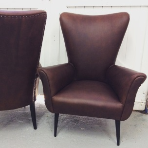 Pair of Italian leather chairs