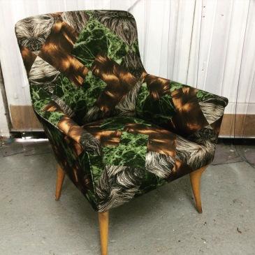 1950s Italian chair in Anna Burns Object fabric