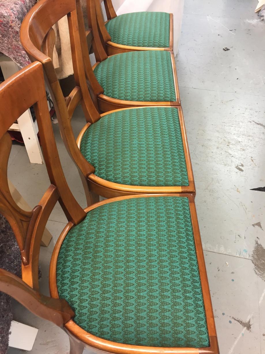Dining Chairs Reupholstered in Bute Fabrics/Timorous Beasties Ramshead Wool Fabric